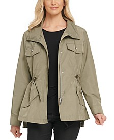 High-Low Drawstring-Waist Utility Jacket