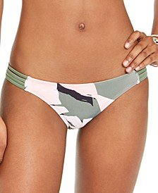 Juniors' Surface Printed Strappy Bikini Bottoms