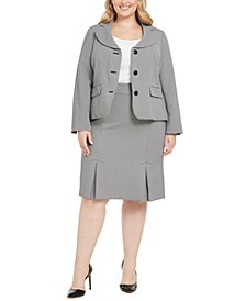 Plus Size Jacquard Three-Button Skirt Suit