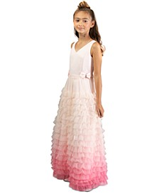 Big Girls Ruffled Ombré Gown