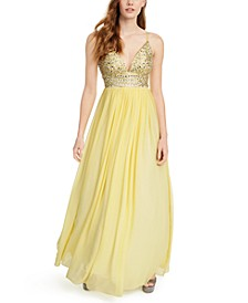 Juniors' Embellished-Bodice Chiffon Gown