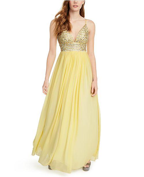 Speechless Juniors' Embellished-Bodice Chiffon Gown