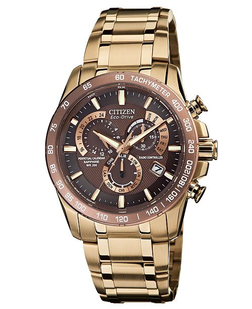 ... Citizen Men s Eco-Drive Perpetual Chrono A-T Rose Gold-Tone Stainless  Steel Bracelet Watch ... 9d3f546b2