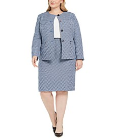 Plus Size Chevron Tweed Skirt Suit