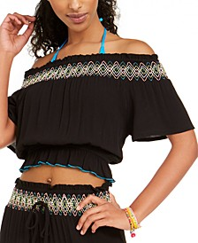 Juniors' Smocked Off-The-Shoulder Cover-Up Top