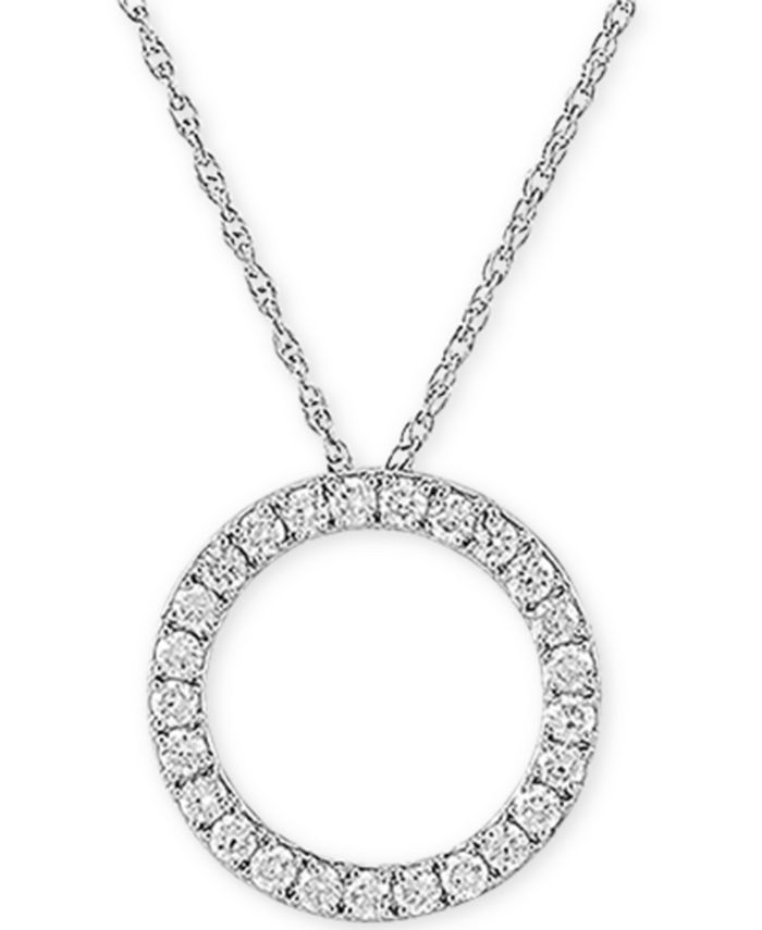 """Forever Grown Diamonds - Lab-Created Diamond Circle 18"""" Pendant Necklace (3/4 ct. t.w.) in Sterling Silver"""