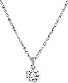 "Lab Created Diamond Cluster 18"" Pendant Necklace (1/5 ct. t.w.) in Sterling Silver"