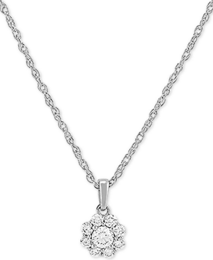"""Forever Grown Diamonds - Lab-Created Diamond Cluster 18"""" Pendant Necklace (1/5 ct. t.w.) in Sterling Silver"""