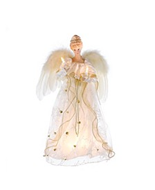 16-Inch UL 10-Light Ivory and Gold Angel Treetop