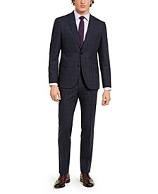 HUGO Men's Classic-Fit Stretch Dark Blue Plaid Suit Separates