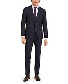 HUGO Men's Classic-Fit Stretch Dark Blue Plaid Suit Separates