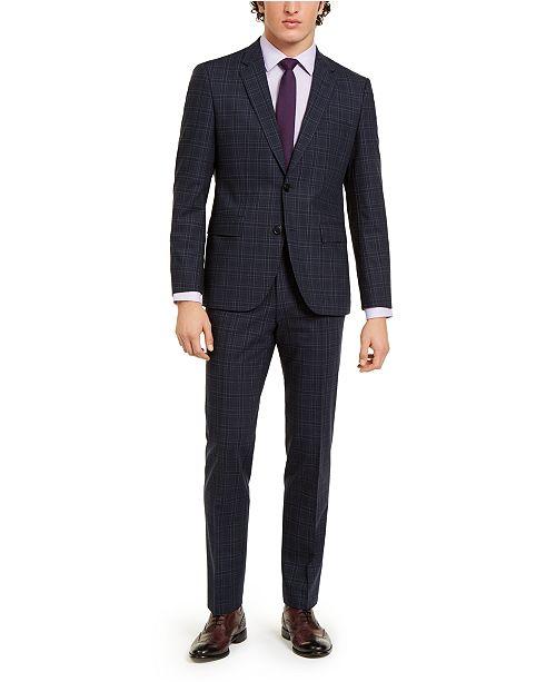 Hugo Boss HUGO Men's Classic-Fit Stretch Dark Blue Plaid Suit Separates
