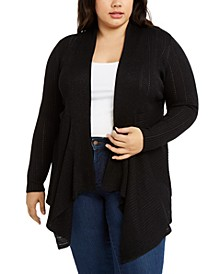 Plus Size Glitter Draped Open-Front Cardigan