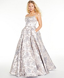 Juniors' Floral Brocade Gown