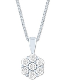"Lab-Created Diamond Cluster 18"" Pendant Necklace (1/2 ct. t.w.) in Sterling Silver"