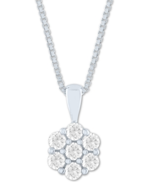 """Lab-Created Diamond Cluster 18"""" Pendant Necklace (1/2 ct. t.w.) in Sterling Silver"""