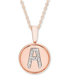 Diamond Accent Initial Pendant in 14k Rose Gold