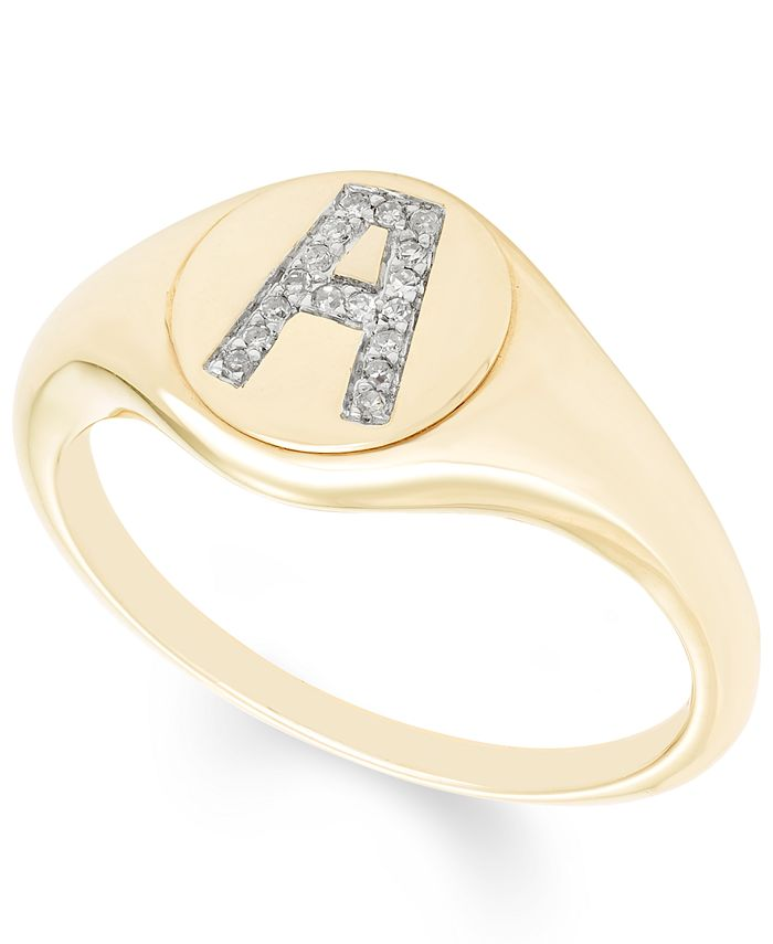 Macy's - Diamond Accent Initial Signet Ring in 14k Yellow Gold