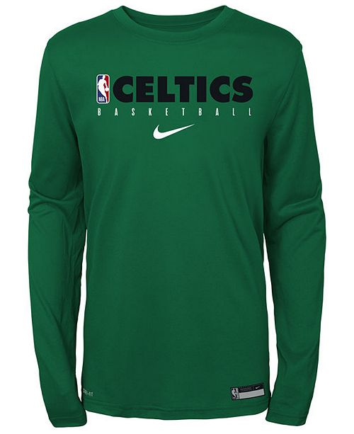 Nike Big Boys Boston Celtics Practice Long Sleeve T-Shirt