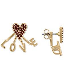 Gold-Tone Stone Love Floater Stud Earrings