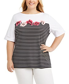Plus Size Printed Boatneck T-Shirt, Created for Macy's