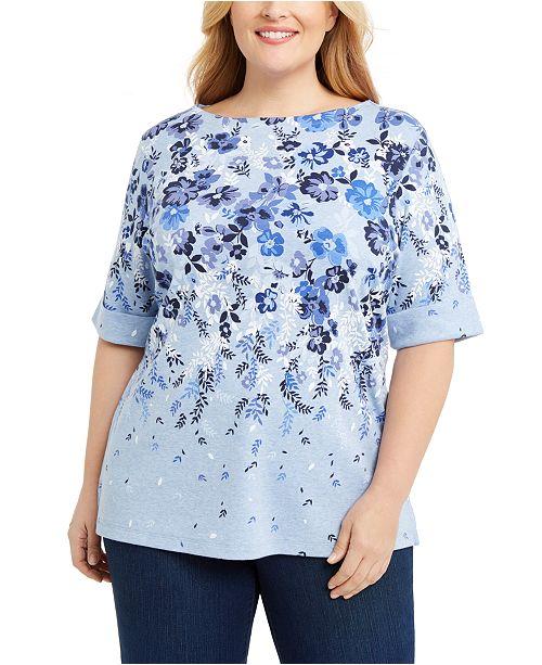 Karen Scott Plus Size Printed Boatneck T-Shirt, Created for Macy's