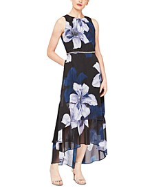 Floral-Print Chiffon High-Low Dress