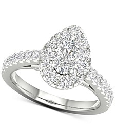 Diamond Pear Halo Engagement Ring (1-5/8 ct. t.w.) in 14k White Gold
