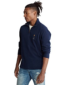 Men's Preppy Bear Cotton Quarter-Zip Pullover