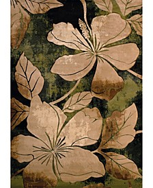 "Contours Floral Canvas 510 28845 24 Green 1'10"" x 2'8"" Area Rug"
