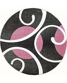 """Bristol Riley 2050 10386 88R Pink 7'10"""" Round Rug"""