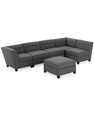 harper fabric 6 piece modular sectional sofa with ottoman With harper sectional sofa macy s