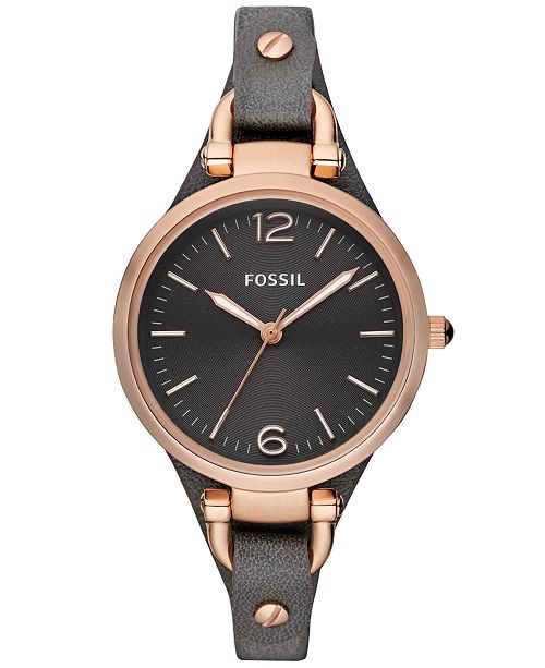 96da861b2 ... Fossil Women's Georgia Ash Gray Leather Strap Watch 32mm ES3077 ...