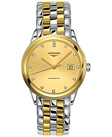 Men's Swiss Automatic Flagship Diamond (1/20 ct. t.w.) Two-Tone PVD Stainless Steel Bracelet Watch 38.5mm