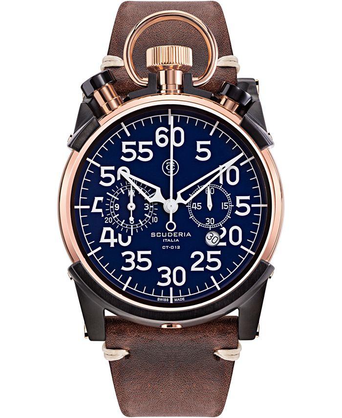 CT Scuderia - Men's Swiss Chronograph Corsa Brown Leather Strap Watch 44mm
