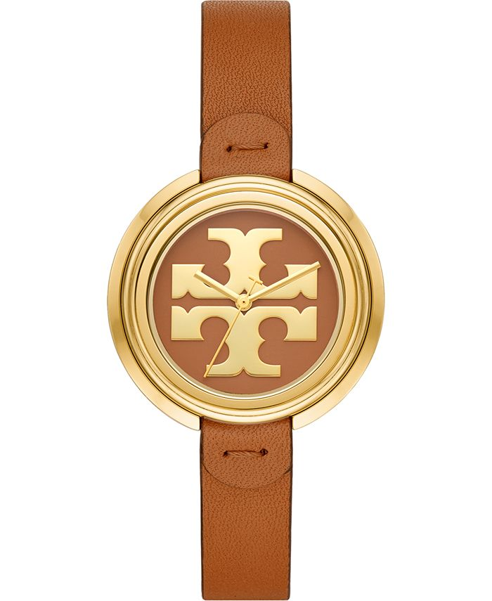 Tory Burch - Women's The Miller Luggage Leather Strap Watch 36mm
