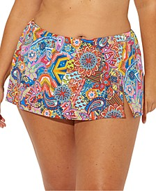 Plus Size Groovy Baby Printed Swim Skirt