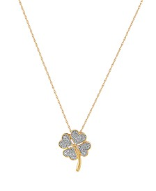 Diamond Accent Four Leaf Clover Pendant in 10K Yellow Gold