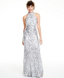 Juniors' Sequined Halter Gown