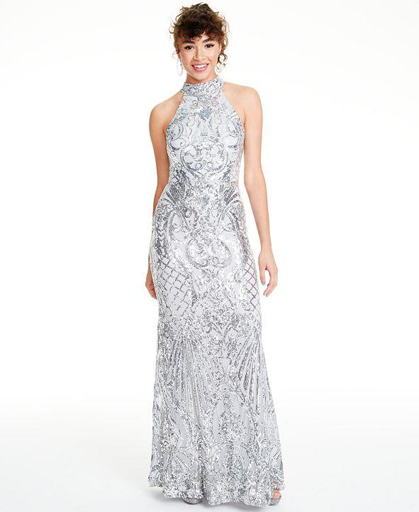 B Darlin Juniors' Sequined Halter Gown