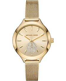 Women's Slim Runway Gold-Tone Stainless Steel Mesh Bracelet Watch 38mm