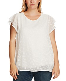 Plus Size Patterned Flutter-Sleeve Top