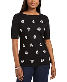 Printed Scalloped Cotton Top, Created for Macy's