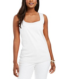 Petite Cotton Square-Neck Tank Top, Created for Macy's