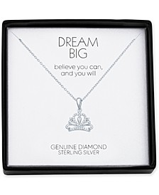 """Diamond Accent Crown 18"""" Pendant Necklace in Sterling Silver"""