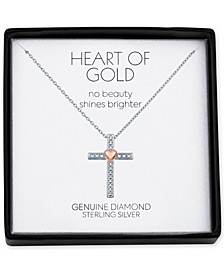 "Diamond Accent Heart Cross 18"" Pendant Necklace in Sterling Silver & 14k Rose Gold-Plate"