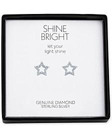 Diamond Accent Star Stud Earrings in Sterling Silver