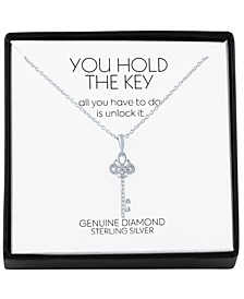 """Diamond Accent Key 18"""" Pendant Necklace in Sterling Silver"""