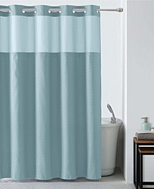 Basketweave Shower Curtain with Peva Liner