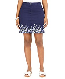 Floating Corsages Border-Print Skort, Created for Macy's